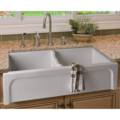 39 Arched Apron Thick Wall Fireclay Double Bowl Farmhouse Kitchen Sink Finish: White