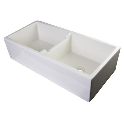 39.5 x 18 Smooth Thick Wall Fireclay Double Bowl Farmhouse Kitchen Sink Finish: Biscuit