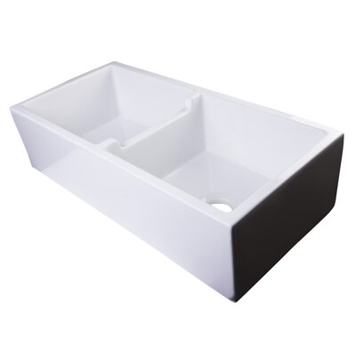 39.5 x 18 Smooth Thick Wall Fireclay Double Bowl Farmhouse Kitchen Sink Finish: White