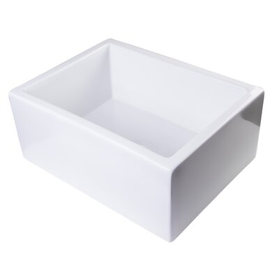 24 x 18 Smooth Thick Wall Fireclay Single Bowl Farmhouse Kitchen Sink Finish: White