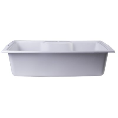 34.63 x 19.69 Drop-In Single Bowl Kitchen Sink Finish: White