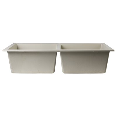 34 x 20 Drop-In Double Bowl Kitchen Sink Finish: Biscuit