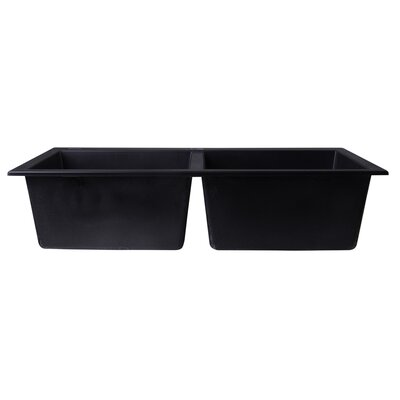 34 x 20 Drop-In Double Bowl Kitchen Sink Finish: Black