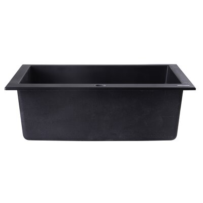 23.63 x 20.88 Drop-In Single Bowl Kitchen Sink Finish: Black