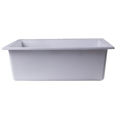 23.63 x 20.88 Drop-In Single Bowl Kitchen Sink Finish: White