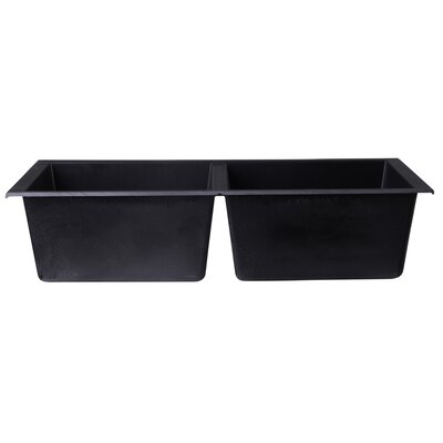 34 x 17.75 Undermount Double Bowl Kitchen Sink Finish: Black