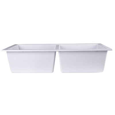 34 x 17.75 Undermount Double Bowl Kitchen Sink Finish: White