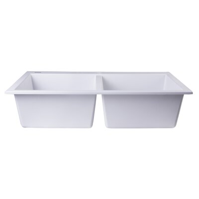 34 x 20 Drop-In Double Bowl Kitchen Sink Finish: White