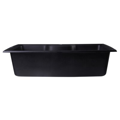 34.63 x 19.69 Drop-In Single Bowl Kitchen Sink Finish: Black