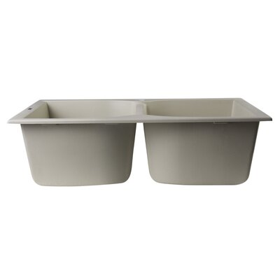 31.13 x 19.75 Drop-In Double Bowl Kitchen Sink Finish: Biscuit
