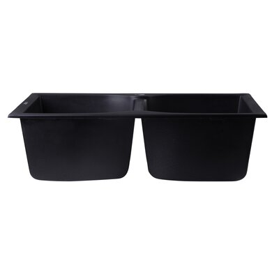 31.13 x 19.75 Drop-In Double Bowl Kitchen Sink Finish: Black