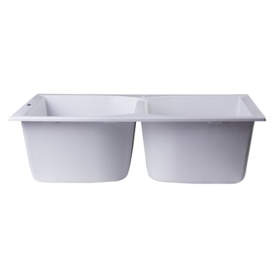 31.13 x 19.75 Drop-In Double Bowl Kitchen Sink Finish: White