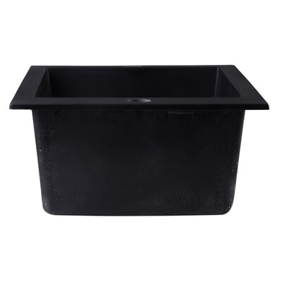 19.88 x 16.13 Drop-In Rectangular Prep Kitchen Sink Finish: Black