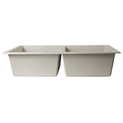34 x 17.75 Undermount Double Bowl Kitchen Sink Finish: Biscuit