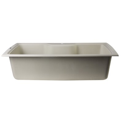 34.63 x 19.69 Drop-In Single Bowl Kitchen Sink Finish: Biscuit