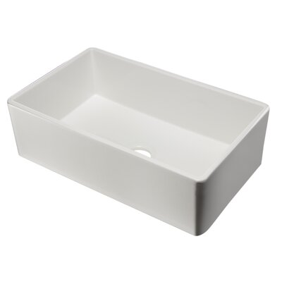 33 x 20 Single Bowl Fireclay Farmhouse Kitchen Sink Finish: White