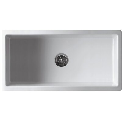 36 x 18 Single Bowl Fireclay Farmhouse Kitchen Sink Finish: White