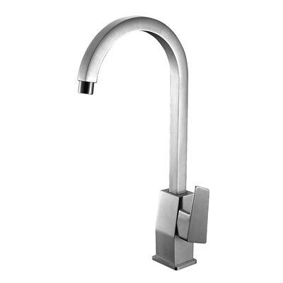 Gooseneck Deck Mounted Single Handle Bathroom Faucet Finish: Brushed Nickel