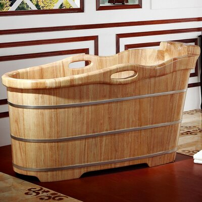 Rubber Wood 57.25 x 23.63 Freestanding Soaking Bathtub