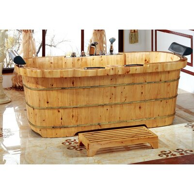 2 Person Cedar Wooden 65 x 30.75 Freestanding Soaking Bathtub
