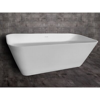 Rectangular Solid Surface Smooth Resin 67 x 31.25 Freestanding Soaking Bathtub
