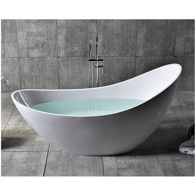 Solid Surface Smooth Resin 73 x 30.75 Freestanding Soaking Bathtub