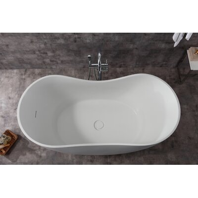 Solid Surface Smooth Resin 66 x31.5 Freestanding Soaking Bathtub