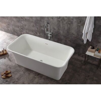 Rectangular Solid Surface Smooth Resin 67 x 35.6 Freestanding Soaking Bathtub