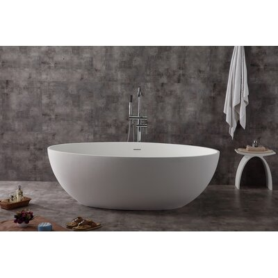 Oval Solid Surface Smooth Resin 67 x 39.4 Freestanding Soaking Bathtub