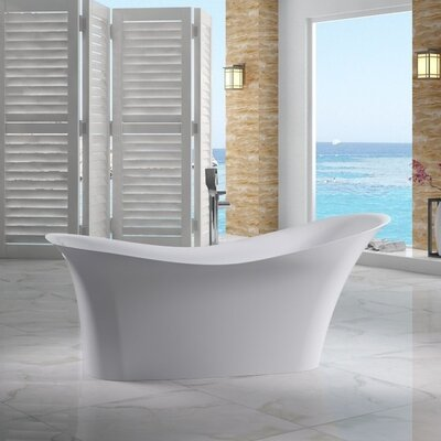 Solid Surface Smooth Resin 74 x 33.8 Freestanding Soaking Bathtub