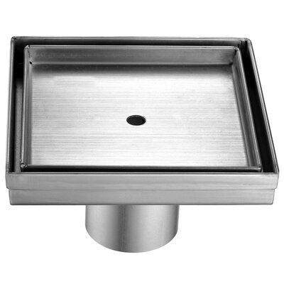 Square Stainless Steel 5.25 Grid Shower Drain