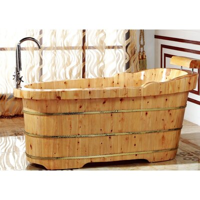 Cedar Wooden 61 x 29.5 Freestanding Soaking Bathtub