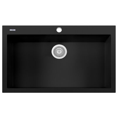 Granite Composite 33 x 22 Single Bowl Drop In Kitchen Sink Finish: Black