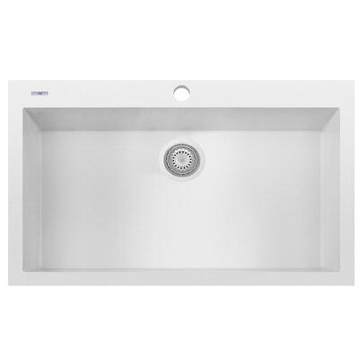Granite Composite 33 x 22 Single Bowl Drop In Kitchen Sink Finish: White