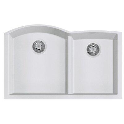 Granite Composite 33 x 20.75 Double Bowl Undermount Kitchen Sink Finish: White