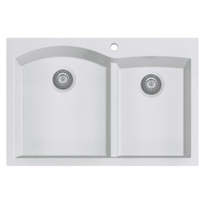 Granite Composite 33 x 22 Double Bowl Drop In Kitchen Sink Finish: White