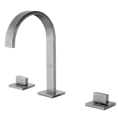 Gooseneck Widespread Deck Mounted Double Handle Bathroom Faucet Finish: Brushed Nickel