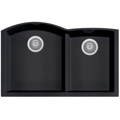 Granite Composite 33 x 20.75 Double Bowl Undermount Kitchen Sink Finish: Black