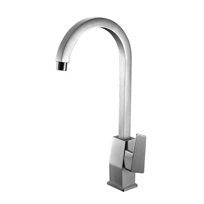 Gooseneck Deck Mounted Single Handle Bathroom Faucet Finish: Brushed Nickel