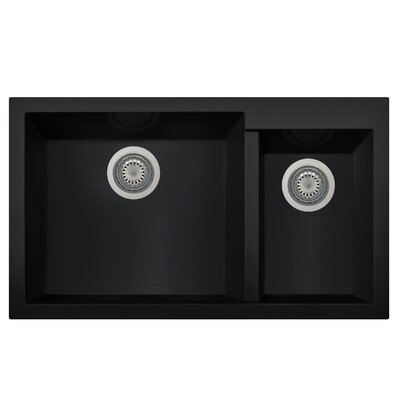 Granite Composite 33.88 x 19.75 Double Bowl Undermount Kitchen Sink Finish: Black