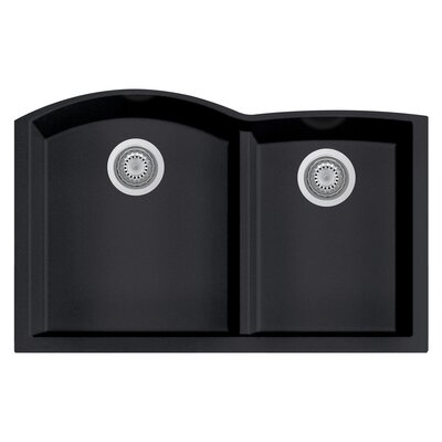 Granite Composite 33 x 20.75 Double Bowl Undermount Kitchen Sink Finish: Black