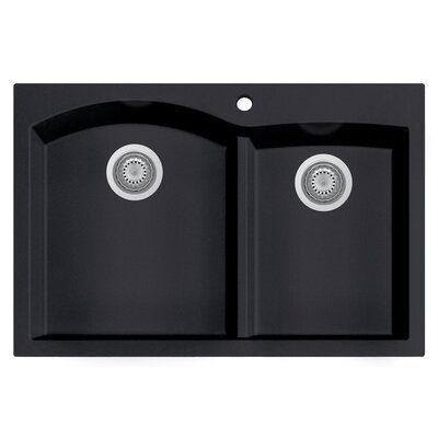 Granite Composite 33 x 22 Double Bowl Drop In Kitchen Sink Finish: Black