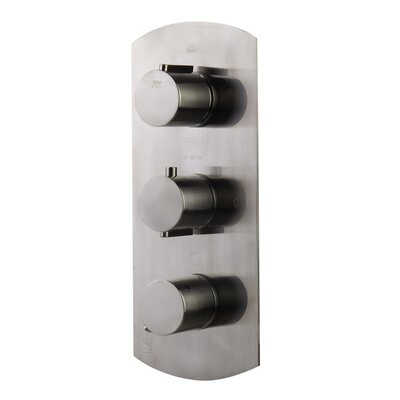 Concealed 3-Way Thermostatic Valve Shower Mixer with Round Knobs Finish: Brushed Nickel