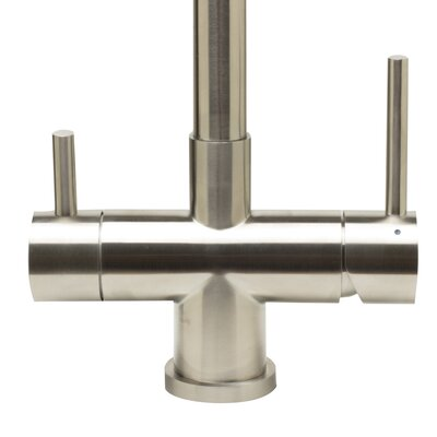 Pull Out Double Handle Kitchen Faucet Finish: Brushed Stainless Steel