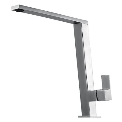 Square Modern Pull Out Single Handle Kitchen Faucet Finish: Brushed Stainless Steel