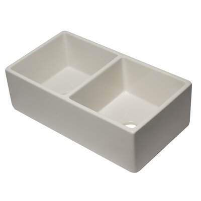 Reversible Fireclay 10 x 33 Double Basin Farmhouse Kitchen Sink Finish: Biscuit