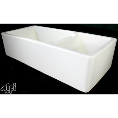 39.5 x 18.5 Double Bowl Fireclay Farmhouse Kitchen Sink Finish: Biscuit