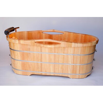 "ALFI Brand 61"" x 28"" Free Standing Oak Wood Bathtub with Cushion Headrest at Sears.com"