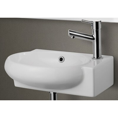 Ceramic Oval Wall-Mount Bathroom Sink with Overflow