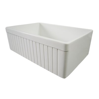 29.88 x 19.75 Single Bowl Fluted Farmhouse Kitchen Sink Finish: White